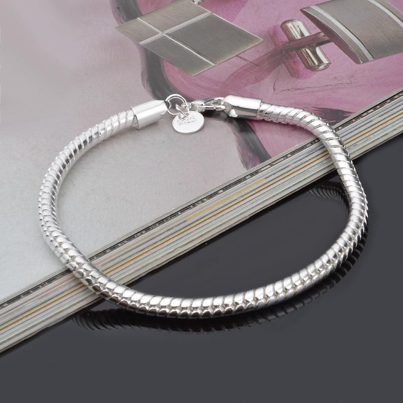 925 Sterling silver snake Chains Bracelets 3MM 4MM smooth women&men snake Chain bangle For couple Fashion lobster clasps Jewelry