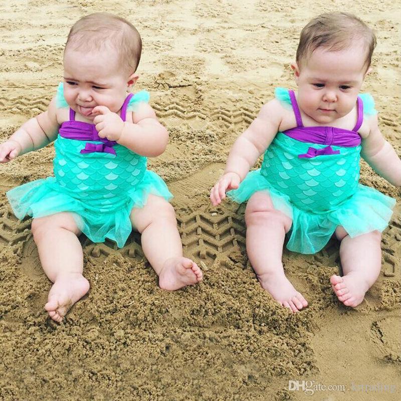 Girls lace tutu skirt mermaid bikini finsh scale pattern brace swimwear infants kids swimsuit for 1-3T