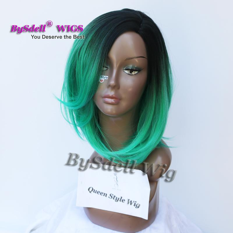 Trendy Two Tones Ombre Wig Medium Length Natural Looking Loose Wave Synthetic Hair Wig for Black/ White Women African American Cosplay Wigs