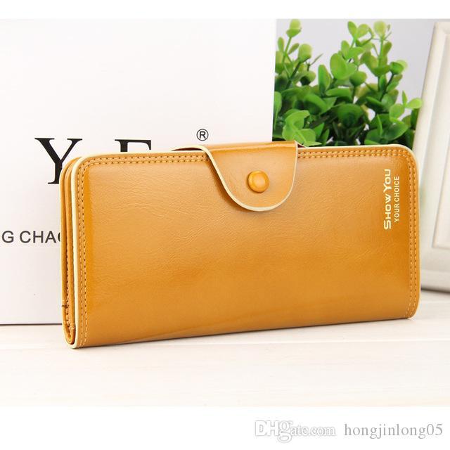 Neue Einfarbig Mode Damen Geldbörsen Weiche Helle Leder Lange Design Haspe Qualität Kreditkarteninhaber Geldbörse Brieftasche Für Frauen