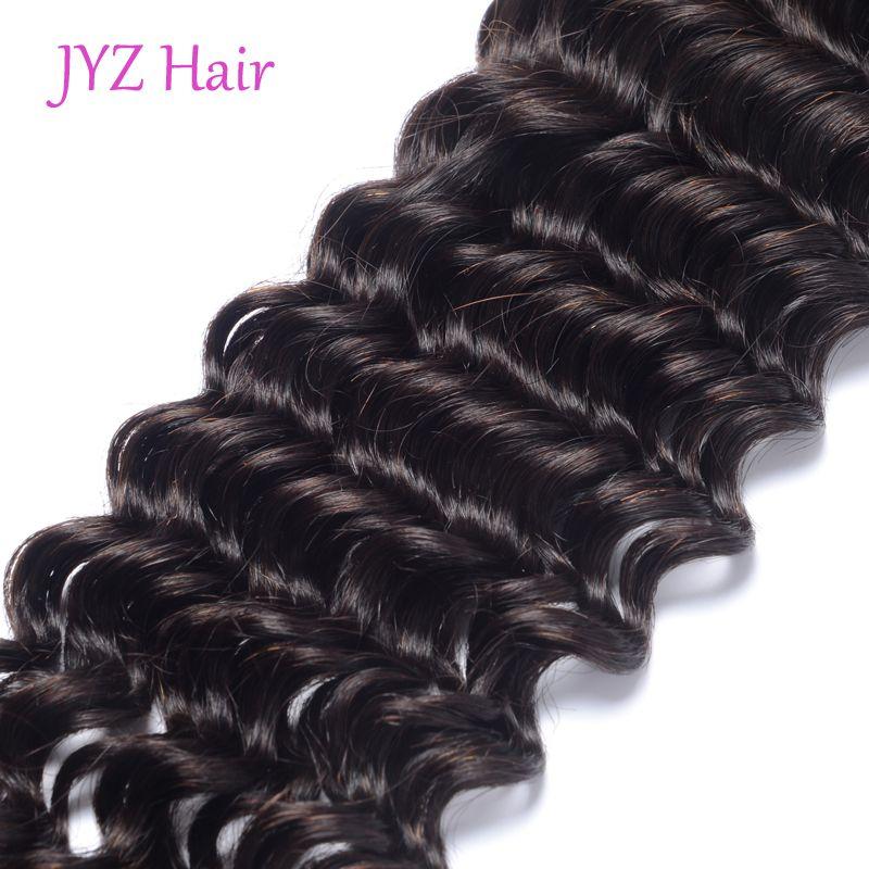 Cabello humano indio Deep Wave 3 paquetes con encaje frontal Tramas para el cabello con extensiones de cabello teñibles sin procesar