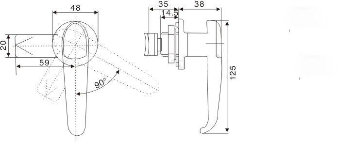 manopola della maniglia della porta dell'armadio elettrico Blocco della scatola di distribuzione della serratura della camma meccanica hardware di riparazione dell'attrezzatura Parte fornitura