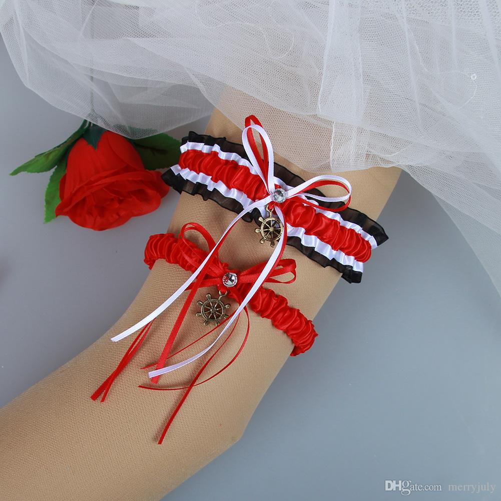 Red Wedding Garters: Black Red White Satin Bridal Wedding Garter Set With