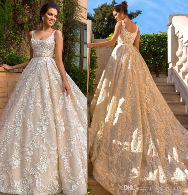 Discount Champagne Lace Wedding Dresses 2017 Long Train