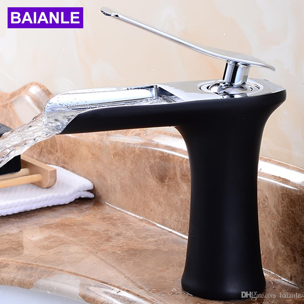 Etonnant 2018 Deck Mounted Bathroom Antique Bronze Waterfall Faucet Basin Mixer Tap  With Hot And Cold Water Black Brush Chrome Finished From Baianle, $92.0 |  Dhgate.