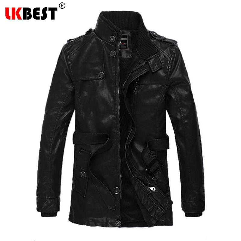 Lkbest 2017 New Winter Men Pu Leather Jacket Wool Liner Long Mens ...