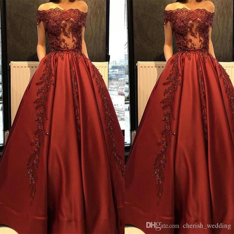 092251fd2bc Robe De Soiree Modest Boat Neck Red Satin Evening Dresses Bateau Bride  Banquet Gowns Women S Party Gowns Prom Dress Plus Size Evening Gowns Dresses  Shop ...