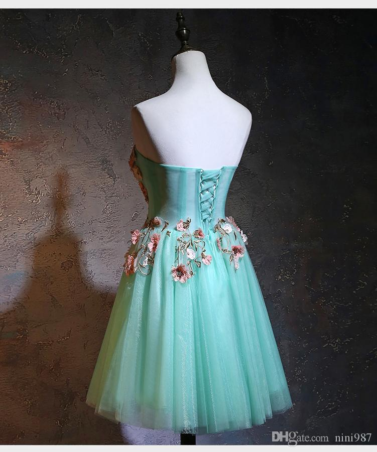 Wholesale High quality Evening Dresses 2018 New Design Embroidery Flowers A-line Blue Green Cheap Short Evening Prom Gowns for women