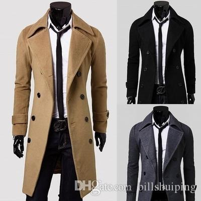 2018 Fashion New Long Trench Coat Men Breasted Decoration Slim Fit ...