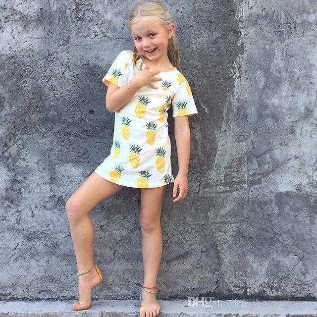 Summer Girls Tops T-shirts Tee Ananas Imprimés Chemises Pure Cotton Casual Manches Courtes Nouveau 2017 enfants T-shirt Fille Garçons Chemises A6180