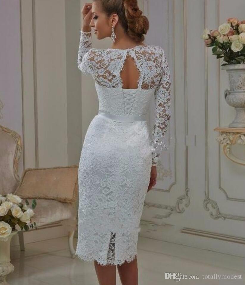 Vintage Tee Länge Spitze Lange Ärmel Kurze Brautkleider Vestido de Noiva Hülle High Juwel Hals Brautkleider Informelles Lässig