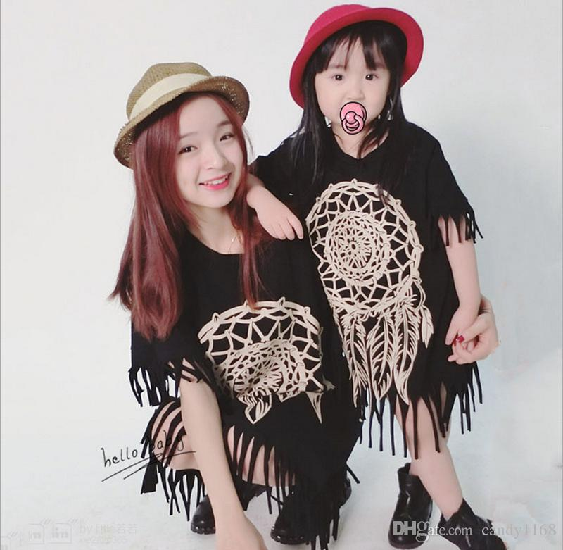 Free shipping Girls and Mothers Knitting Dress Family Dress Alikes Lace 2017 New Summer Floral Fashion Short Sleeve blackTassels Dress