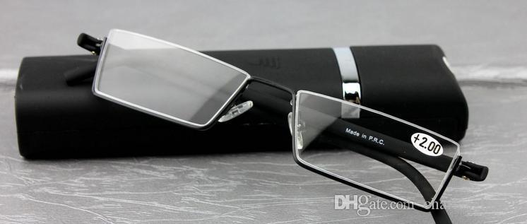 TR90 Lesegläser des Einzelverkaufs gehen mit Fall für Männer / Frauen tragbare Minipressewissergläser schwarze Farbe