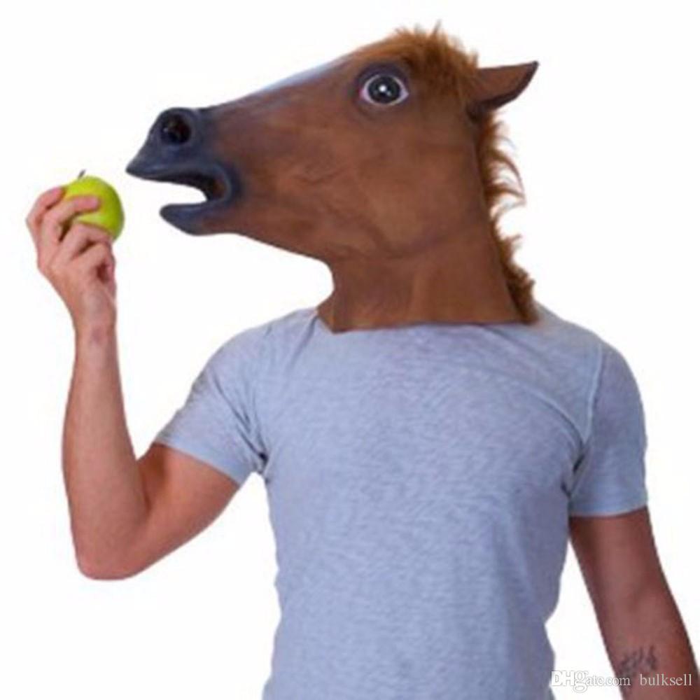 Creepy Unicorn Horse Animal's Head Maschera di lattice Costume di Halloween Teatro scherzo Prop Maschera pazzesca