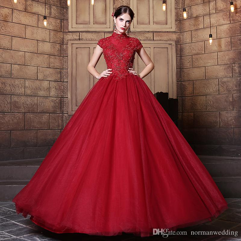 Wedding Gowns With Red: Dark Red Vintage Wedding Dresses 2017 High Neck Beading