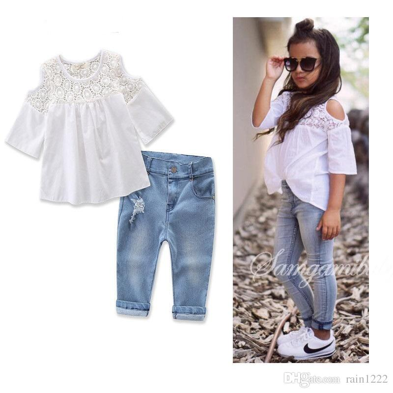 2018 new girls lace clothes jeans outfits children kids