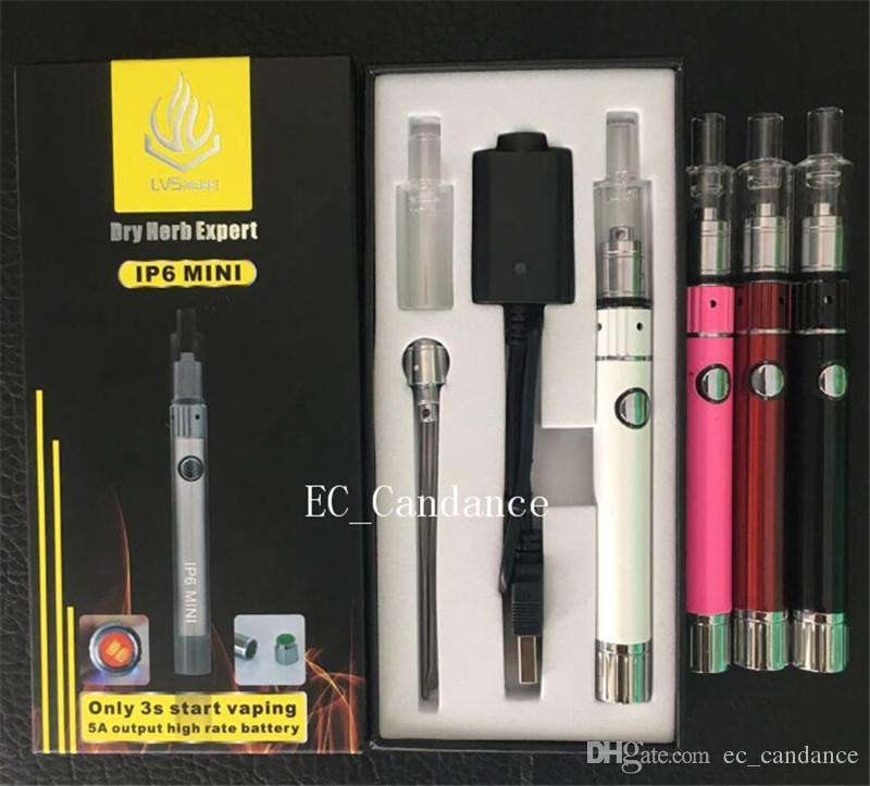 IP6 mini kit de caneta vaporizador de cera Dupla Quartzo Haste Coil starter kits de Erva Seca atomizador Glass Globe Skillet Canhão Tanque