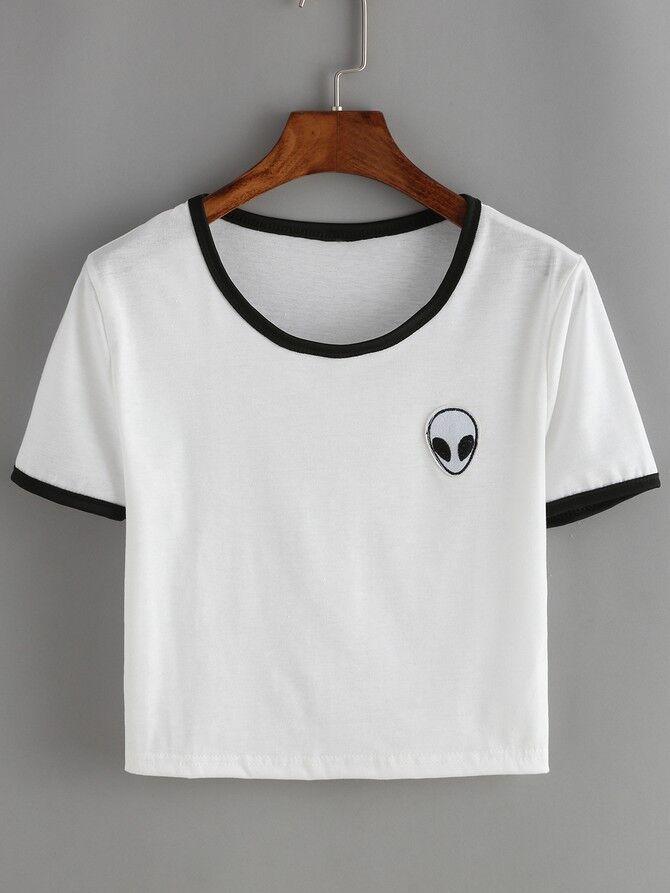2017 New Fashion Round Neck Jacket Woman Alien Pattern Short Sleeve T-shirt Summer