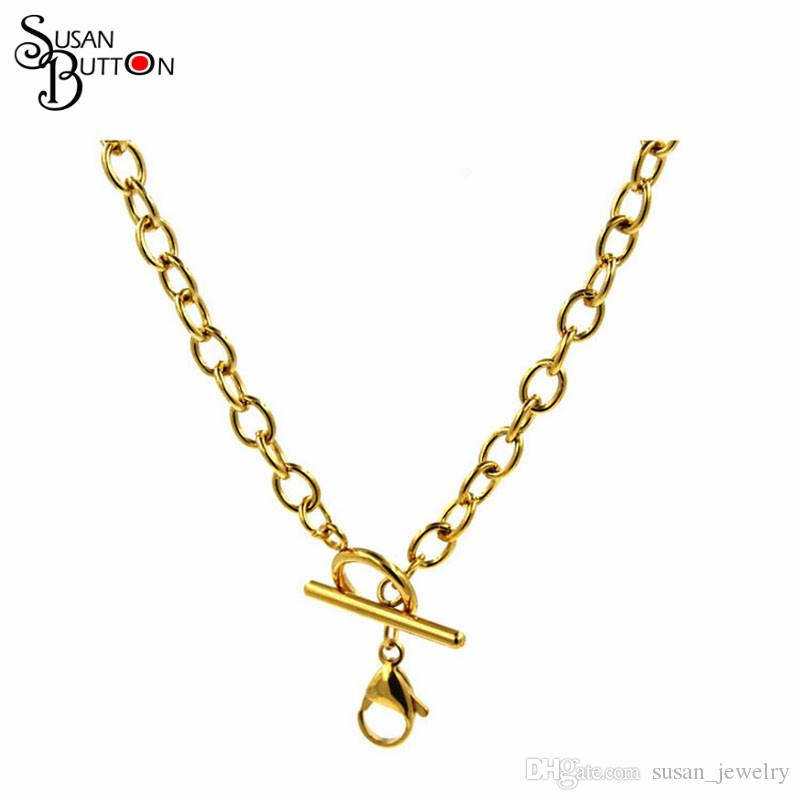 45cm Stainless steel flat cable toggle floating chain Necklace Rose Gold floating locket charms chains necklace chain Jewelry