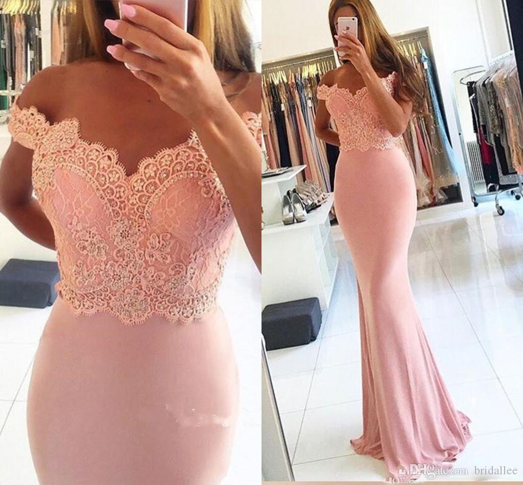 2017 New Blush Pink Mermaid Evening Dresses Off Shoulder Beads Floor Length Formal Prom Gowns Custom Made Bridesmaids