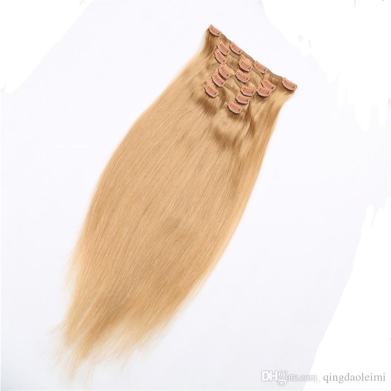 Trasporto libero vergini brasiliani estensioni # 27 bionda 70g-220g lungo dritto clip in / sulle estensioni dei capelli umani prezzo a buon mercato