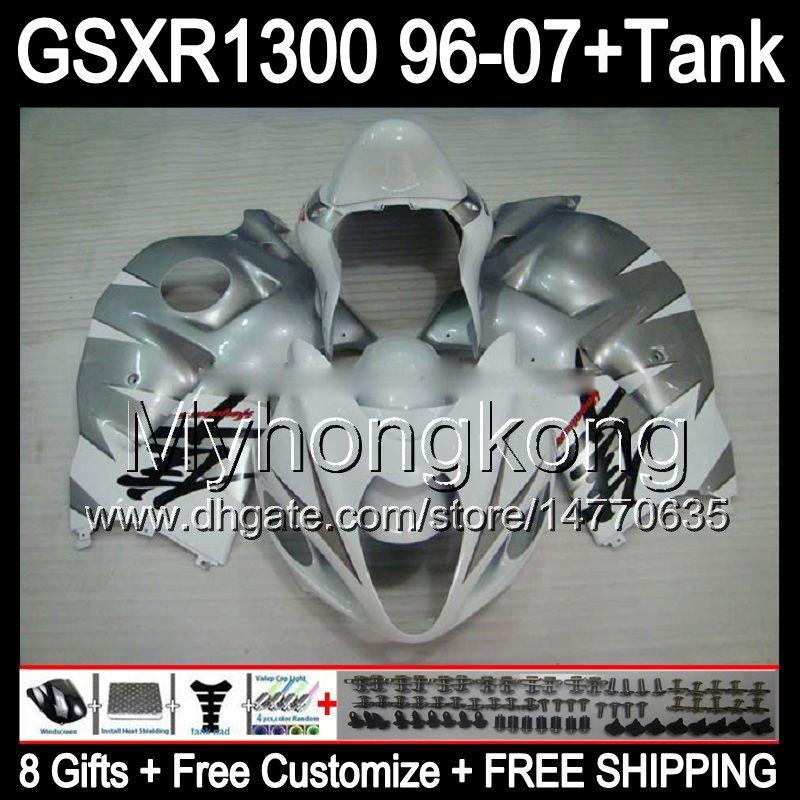 8gift для глянцевого серебра SUZUKI Hayabusa GSXR1300 96 97 98 99 00 01 13MY93 GSXR 1300 GSX-R1300 GSX R1300 02 03 04 05 06 07 верхний белый обтекатель