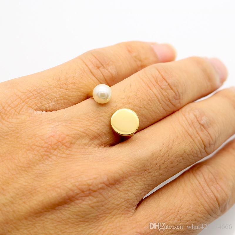 2017 nuovo marchio di moda di alta qualità amore gioielli perla d'acqua dolce anelli in oro colore nero pietra chiodo anello le donne