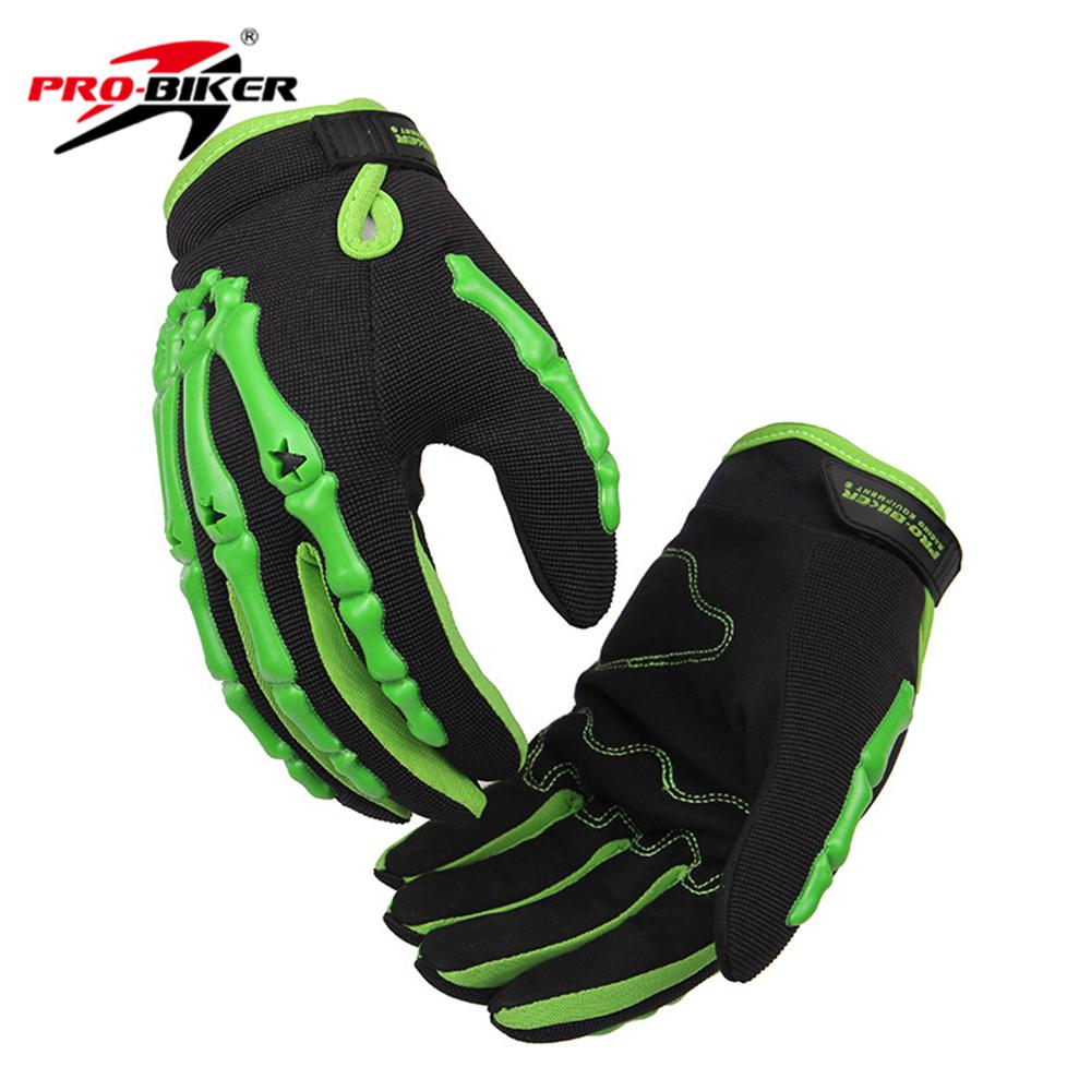 Wholesale- PRO-BIKER Men Road Riding Long Gloves Motorbike Racing Gloves Motorcycle Guantes Motocross Moto Luvas Motociclista Skull Style