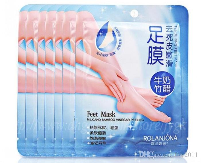 Rolanjona Leite vinagre de bambu remover a pele morta Máscara de pé do bebê pele lisa pés esfoliantes máscara meias de cuidados com os pés para pedicure com varejo