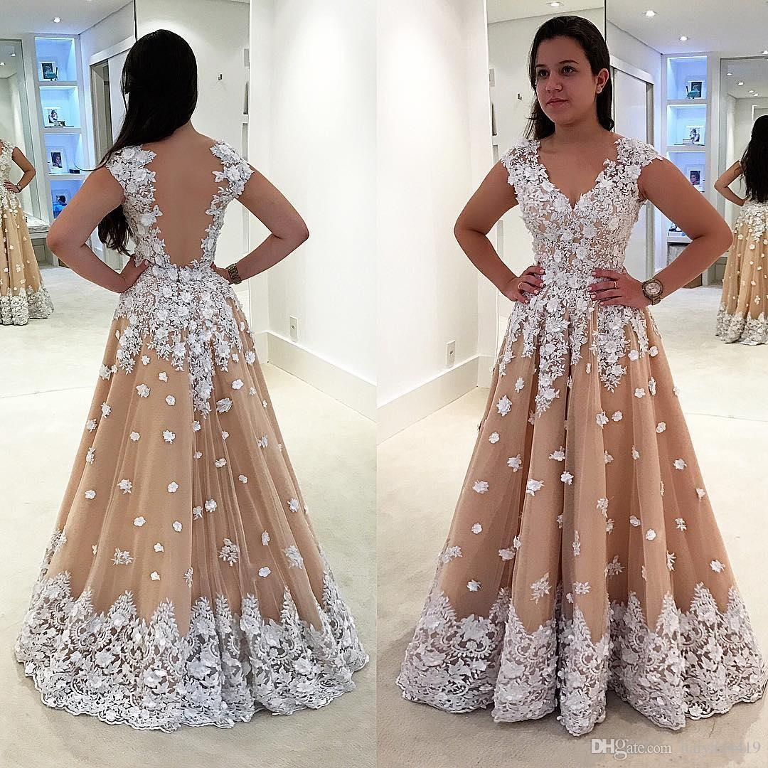 Newest 2017 White Lace Applique Flowers Beaded Prom Dresses Sweetheart Sheer Back Champagne Tulle Plus Size Party Dress Formal Evening Gowns