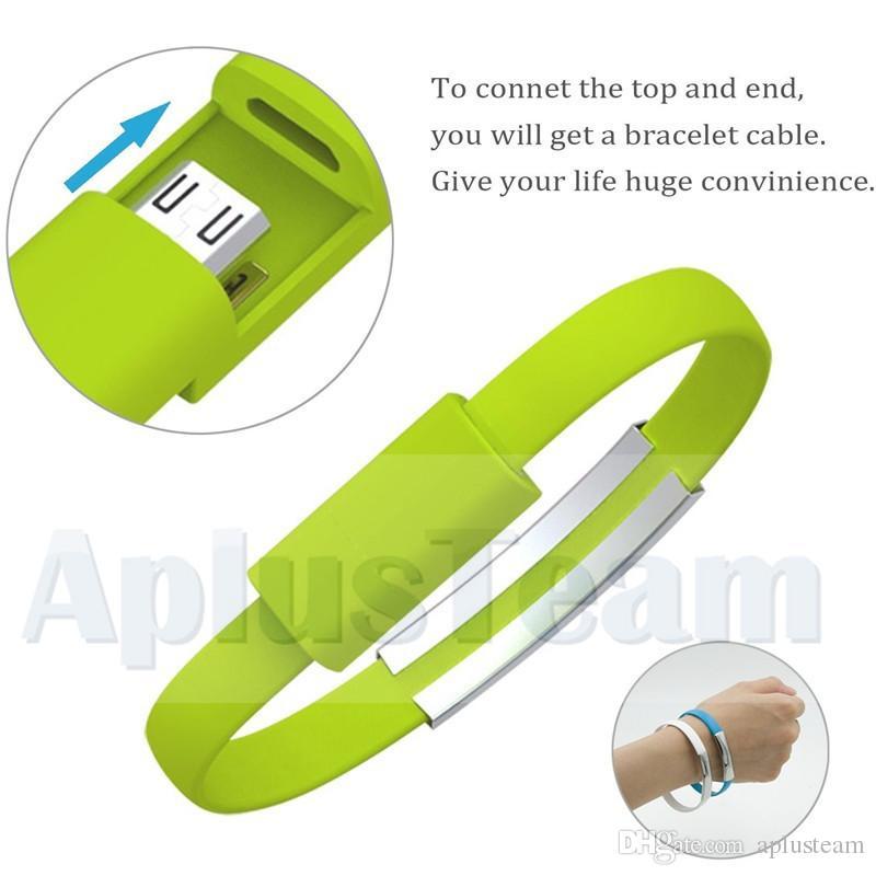 Mini portatile variopinto Micro USB Cavo di dati polsino del braccialetto del cavo conduttore Samsung S7 S6 bordo di HTC Blackberry universale Android