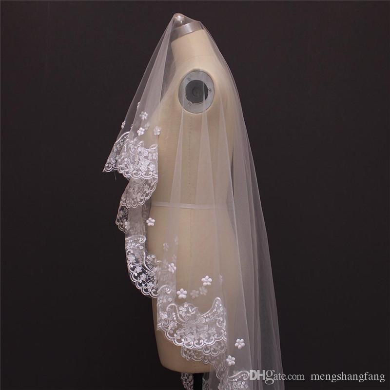 Catedral de lujo de un solo nivel y lujoso velo de novia SIN peine de encaje Perla con cuentas Velos de novia