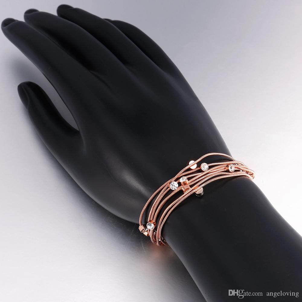 New Arrival 18K Rose Gold Plated Jewelry Genuine CZ Crystal Fit Many Chains Charms Bracelets/Bangles For Party