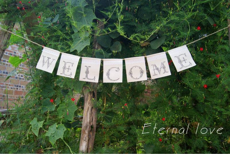2019 Wholesale Welcome Lace Canvas Banner Rustic Welcome Sign