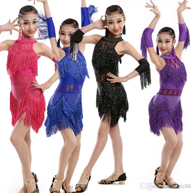 Kids Professional Sequined Tassels Children Latin Salsa Dance Dress Girls  Ballroom Competition Performance Dancing Stage Wear Outfits Children s  Ballroom ... c52b9ad09f8f
