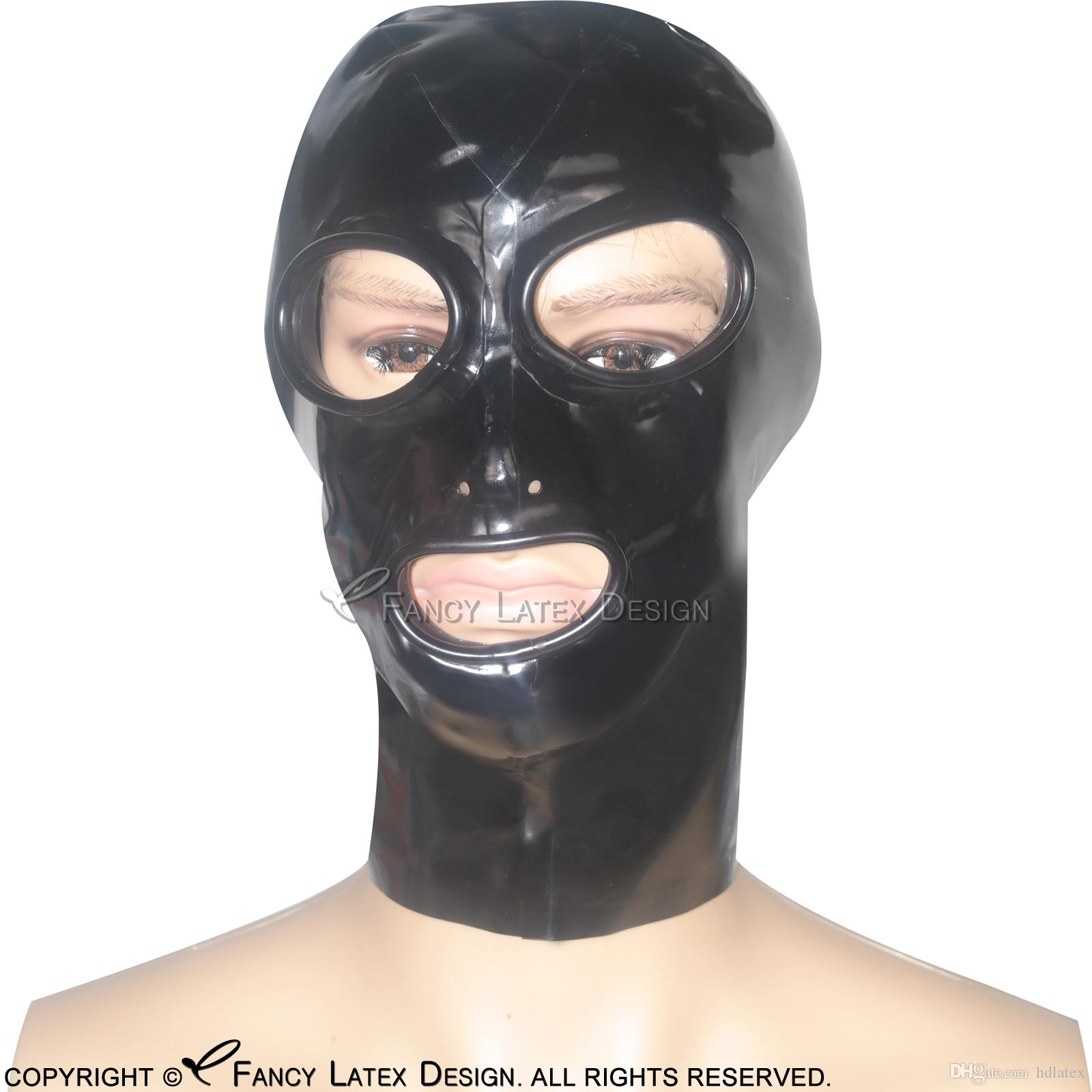 Black Sexy Latex Hoods Open Eyes Mouth Nose Holes With Zip At Back Fetish  Rubber Masks Bondage Plus Size TT-0014 Cocoon Latex Rubber Hood with Zipper  Zip ...