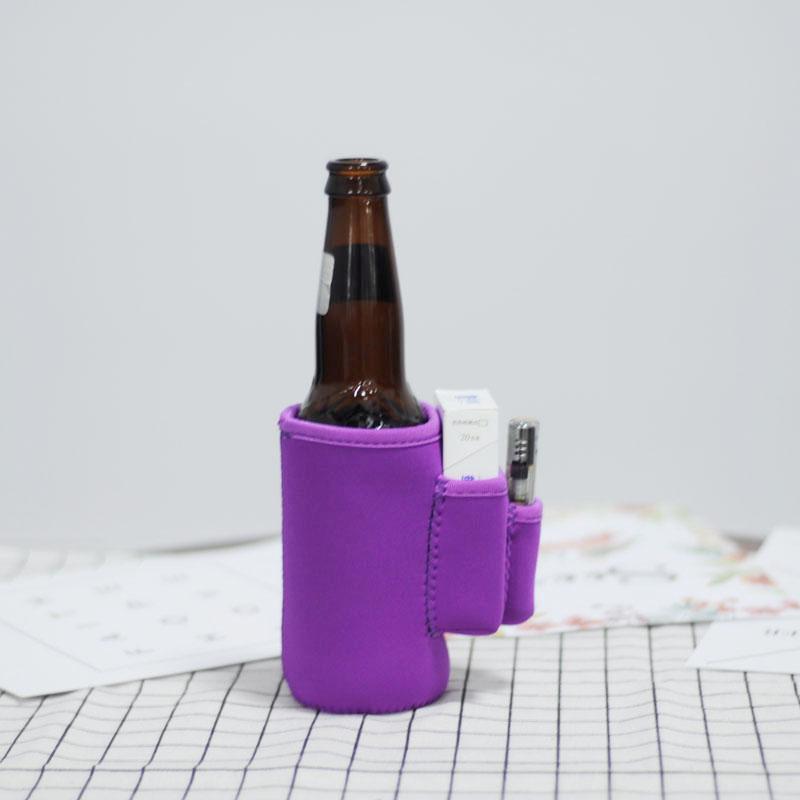 솔리드 네오프렌 쿨러 유틸리티 보틀 랩은 6 가지 색상의 3 가지 주머니 선물용 커버 가능 DOM106611