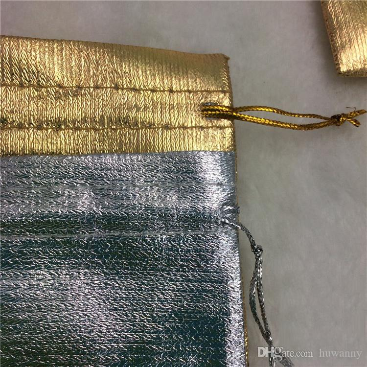 Jewelry pouches Gold Silver Gift Storage Bags Drawstring Bag for Wedding Party 7*9cm Jewelry Package Wholesale 0585WH