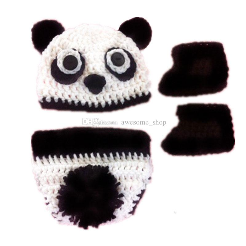 Lovely Newborn Panda Bear Costume,Handmade Crochet Baby Boy Girl Animal Hat,Booties and Diaper Cover Set,Halloween Costume,Infant Photo Prop