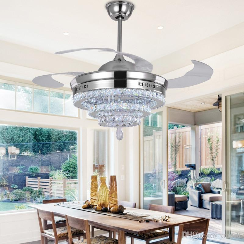 2018 LED Crystal Chandelier Fan Lights Invisible Living Room Bedroom Restaurant Modern Ceiling 42 Inch With Remote Control From