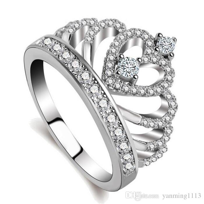 Real 925 Sterling Silver Queen Crown Ring Fashion Designed Wedding ...