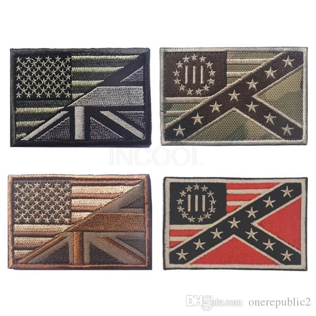 Embroidery Patch Three Percenter US UK Flag Morale Patch Tactical Emblem Badges Embroidered Patches Wholesale