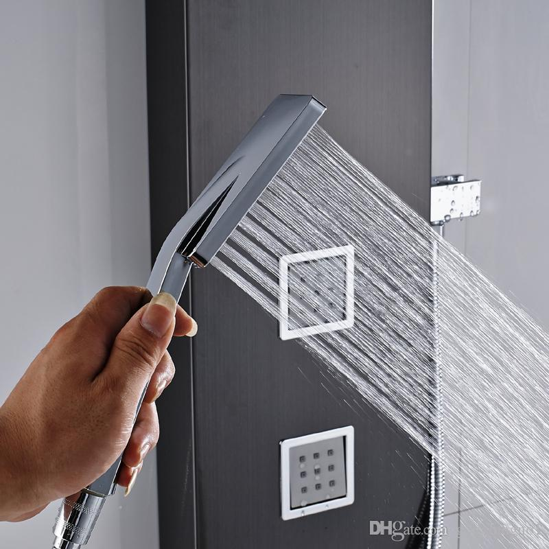 Great Black Rainfall Shower Panel Set com sistema de massagem torneira com jatos com coluna de chuveiro de mão chuveiro chuveiro