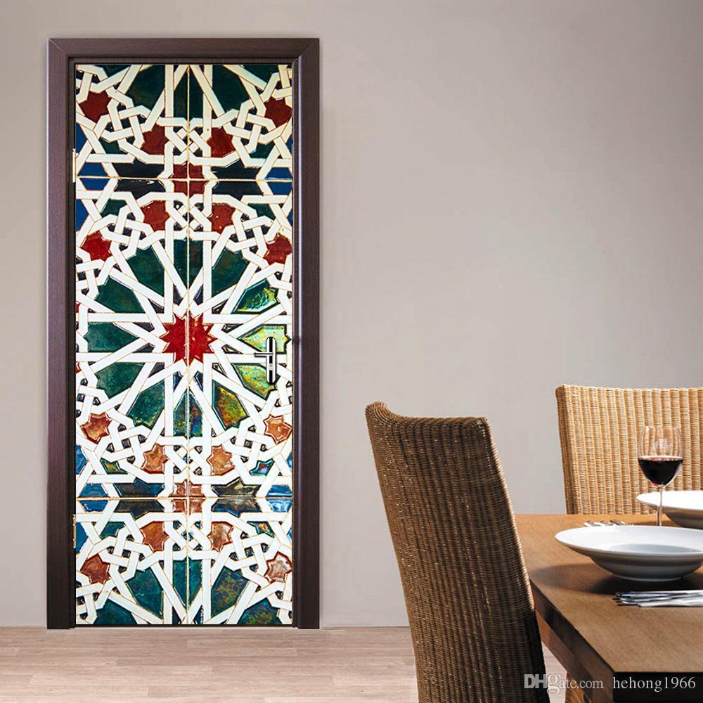 3D Wall Stickers Imitate Mural Painting Living Room Bedroom Wooden Door Sticker Paste Wood Drawbridge Decoration Refurbished Waterproof 45fu