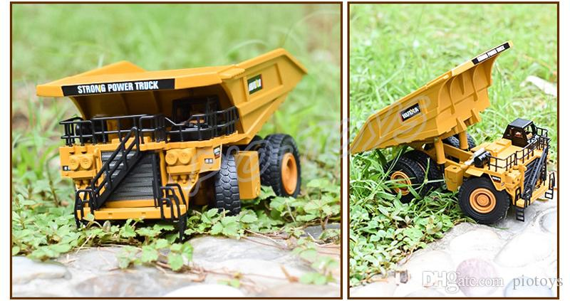 Christmas Gift 1/40 Metal Model Mining Trunk Car Alloy Vehicle Die-cast Static Models Scale Toys Cars Dump Trucks Engineering Education Tool