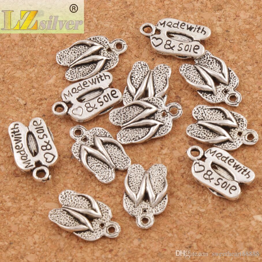 Flip-flops gemaakt met liefde spacer charme kralen 300 stks / partij antiek zilver hangers legering handgemaakte sieraden DIY 12.6x9.4mm L401