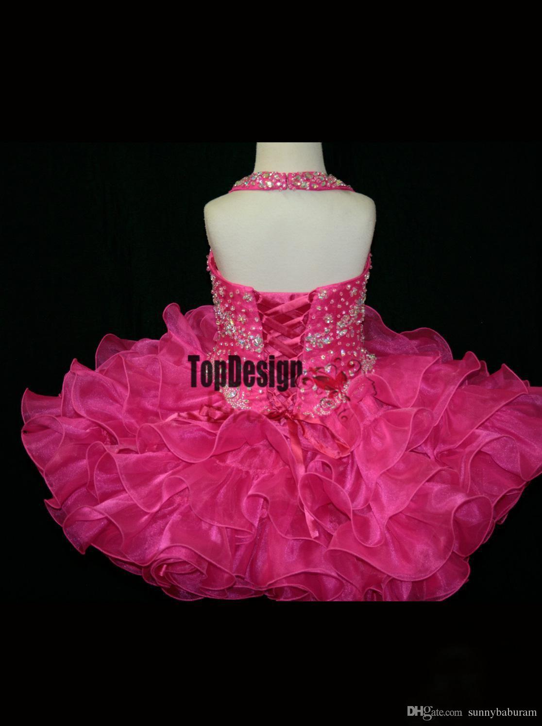 Custom Made- Halter 2017 Little Girl Cupcake Girl's Pageant Dresses Lovely Hot Pink Glitz Toddler Party Dresses