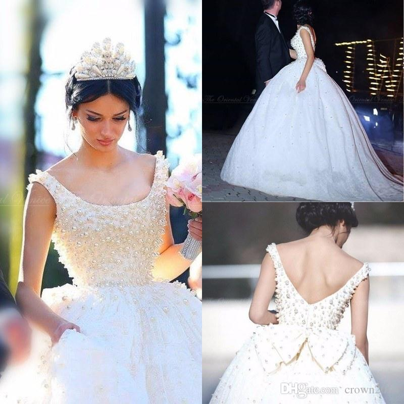 Luxury Lace Princess Ball Gown Wedding Dresses 2017 Scoop Neck ...