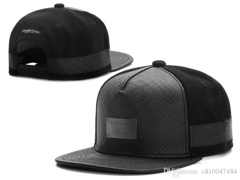 1dd352ff New Cayler Sons black Leather Snapback hat Flower sport hip pop bone  baseball snapback caps for men women gorras sun era hat