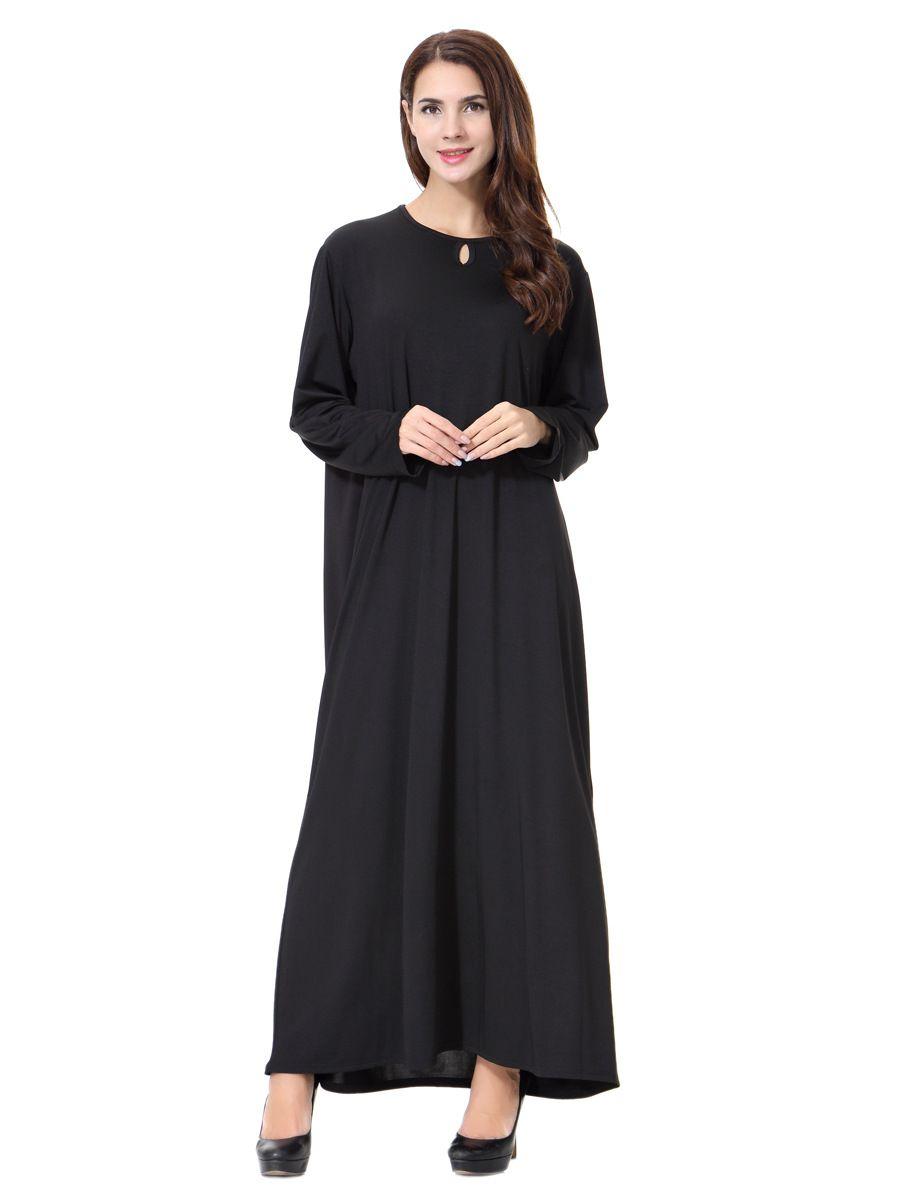 새로운 도착 이슬람 블랙 망토 Abayas 무슬림 롱 드레스 여성 말레이시아 두바이 터키어 여성 의류 높은 품질 로브